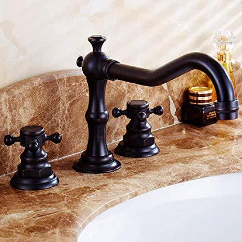 ZANYUYU Estilo europeo antiguo lavabo grifo Split retro doble agujero completo cobre agua fría y caliente tres agujeros lavabo grifo