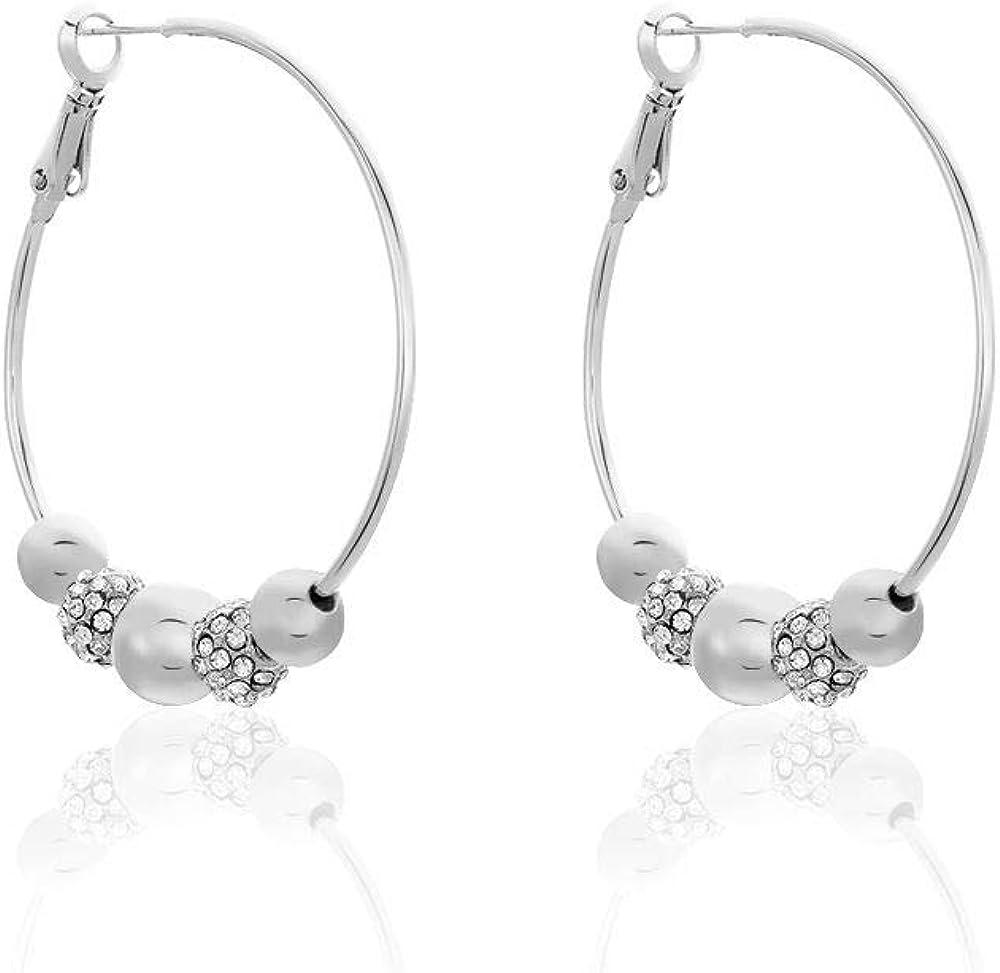 Stroili orecchini a cerchio in metallo rodiato e strass 1661923