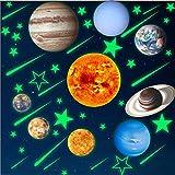 Kangxinsheng Pegatinas de Pared Resplandor del Sistema Solar, Papel Pintado Luminoso para la Decoración de la Sala de Estar del Dormitorio de Los Niños,Mural Autoadhesivo Removible con Planetas