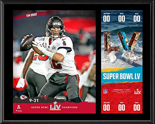 Tom Brady Tampa Bay Buccaneers 12'' x 15'' Super Bowl LV Champions Sublimated Plaque with Replica Ticket - NFL Player Plaques and Collages