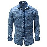 Camisas de Mezclilla con Botones Casuales para Hombres Camisa Ajustada de Manga Larga con Solapa Europea y Americana de Talla Grande con Bolsillos XL