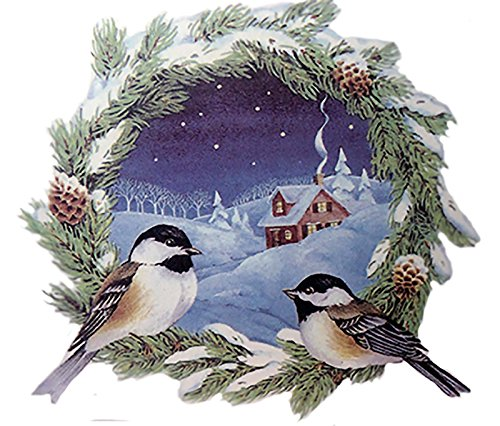 """477 Christmas Chickadee Wreath Ceramic Decals by The Sheet (Select-A-Size) (6 pcs 4"""")"""