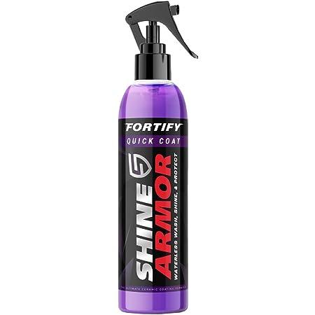SHINE ARMOR Fortify Quick Coat - Ceramic Coating - Car Wax Polish Spray - Waterless Car Wash & Wax - Hydrophobic Top Coat Polish & Polymer Paint Sealant Detail Protection