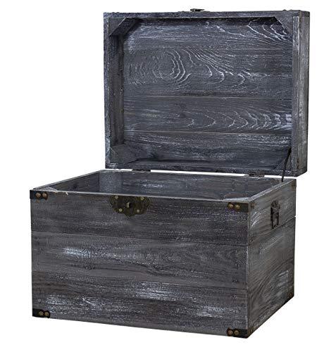1x Schwarze Truhe im Shabby Chic Look mit Deckel | 45x35x35 cm | Neu | schöne Metallbeschläge veredeln die Kiste, Erinnerungskiste