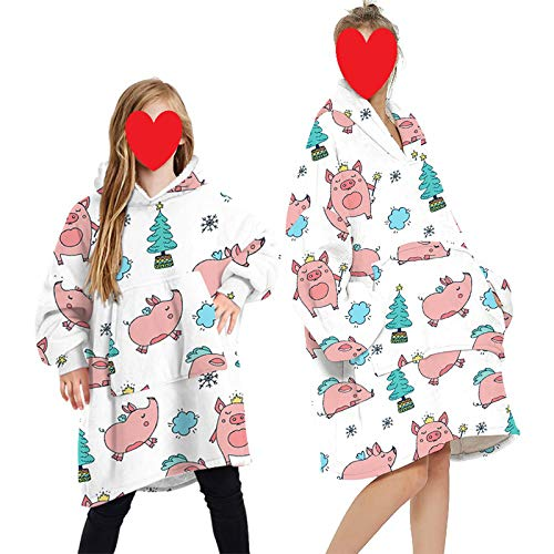 Oversized Hoodie Sweatshirt Blanket with Pocket Family Matching Warm Giant Hoody for Adults Men Women Teens (White- Pig, One Size for Adults)