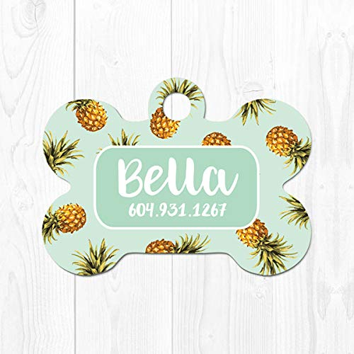 Dog Tag for Dogs Personalized Dog ID Tag Pet Tags Pineapple Pet ID Tag Tropical Dog Collar Tag Mint Green Dog Tag for Collar Cute Tag 3254