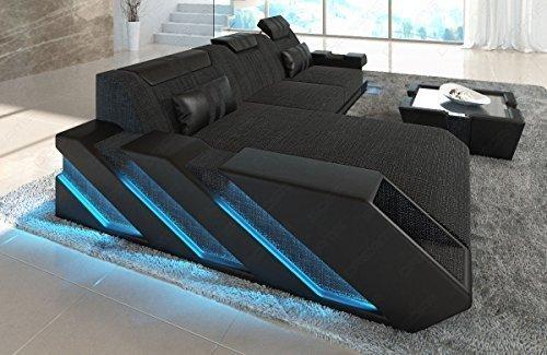 Sofá de tela Sofá de diseño en Stoffmix APOLLONIA L Forma Con Iluminación LED