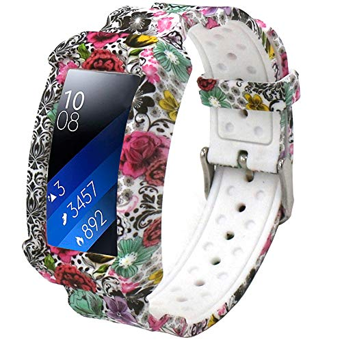 Veczom Bands for Gear Fit 2 Smartwatch, Silicone Sport Strap with Frame Protect Cases Band Compatible with Samsung Gear Fit2, Gear Fit2 Pro Wristband Watchband (Rich Flower)