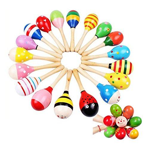 PIXNOR Maracas sonajero coctelera Musical juguetes de madera para niños 10 pcs (patrón de Color al azar)