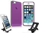 Gel-Hülle für iPhone 5 / 5s mit Support-Ständer Smoke Purple Für iPhone 5S und iPhone 5 (2012)