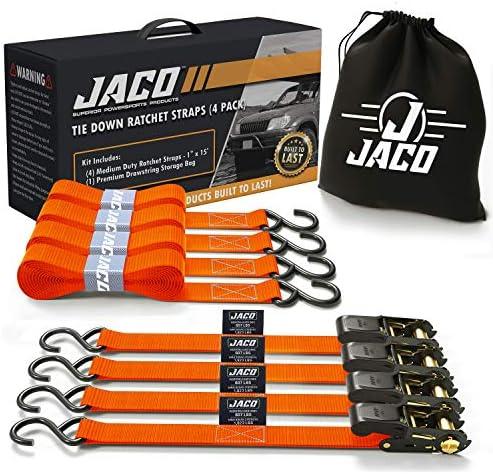 JACO Ratchet Tie Down Straps 4 Pack 1 in x 15 ft AAR Certified Break Strength 1 823 lbs Cargo product image