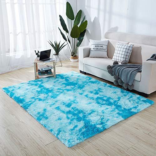 モダン シャグ エリア ラグ ふわ ラグ 滑り止め シャギー エリア ラグ リビングルーム ホーム 寝室 カーペット 6.5' x 13' ブルー