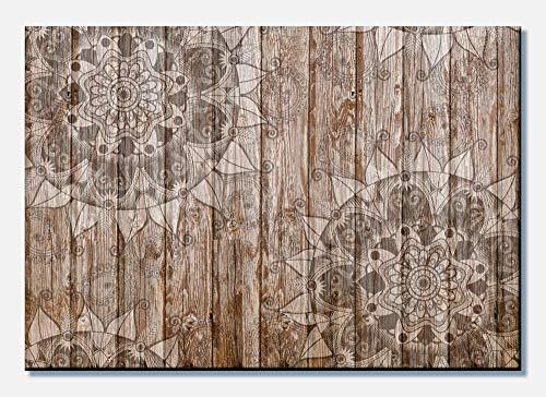 wandmotiv24 Leinwandbild Holzwand mit Mandalas 60x40cm (BxH) Panoramabild Foto-Leinwand Wandbild Foto-Geschenke M0722