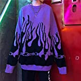 FDJIAJU Suéter De Mujer,Tejido De Punto,Otoño E Invierno Moda Patrón De Llama Suéter Suéter Suelto Informal De Manga Larga Tops Ropa Universitaria Femenina Jersey De Punto, Morado 02, Talla Única