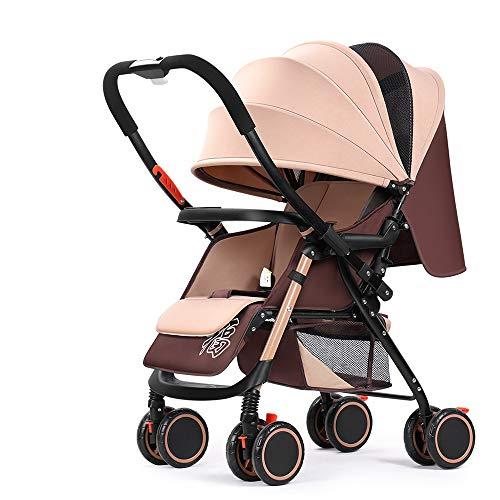 Leichte Kinderwagen, Kompakt-Buggy, Klappkinderwagen Von Geburt Bis 25 Kg, Eine Hand Faltbar, Fünf-Punkt-Gurt, Groß Für Flugzeug,Braun