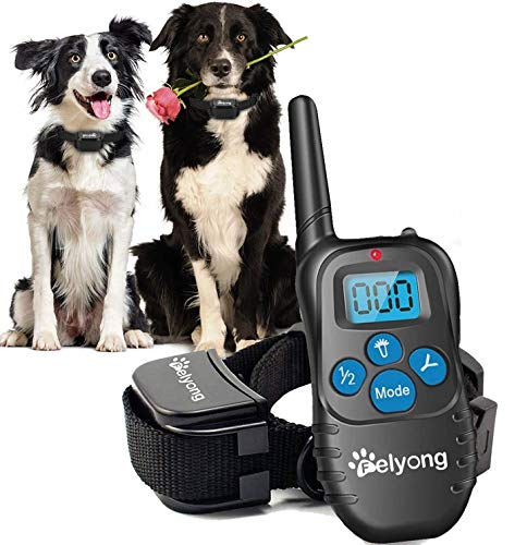 Felyong Dog Training Collar with Remote, Rechargeable Waterproof Dog Shock Collar with Beep Vibration Safety Shock Harmless Training Collars for Small Medium Large Dogs, 1000 Ft Range (Black)