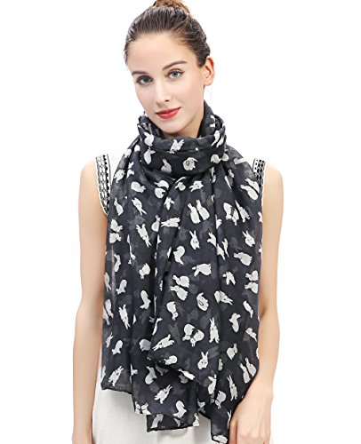 Lina & Lily Lovely Rabbit Bunny Print Women's Large Scarf Lightweight (Gray...