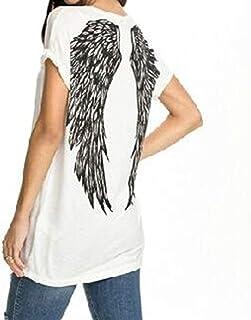 Camiseta de manga corta para mujer, cuello redondo, diseño de alas de ángel, estampado de plumas