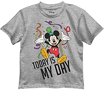 Disney Boys  Mickey Mouse Today is My Day Birthday Graphic Tee T-Shirt  Grey Heather 5/6