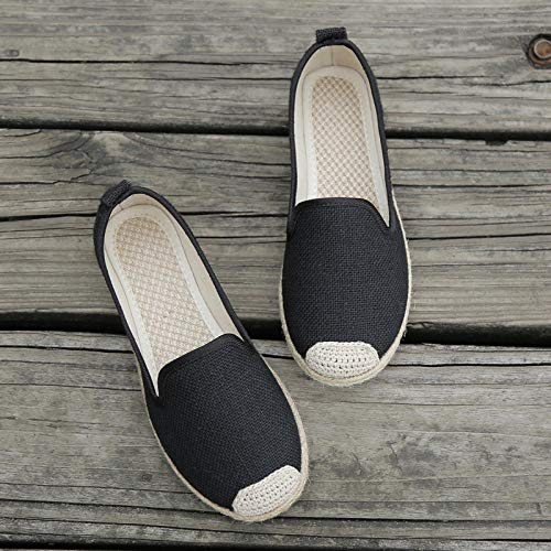 GaYouny Zapatos Bordados Mujeres Hecho a Mano Planeos Espáquidos Zapatos Damas Casuales Zapatos de conducción Transpirables Slip en Mocasines Planos japoneses (Color : Schwarz, Size : 39 EU)