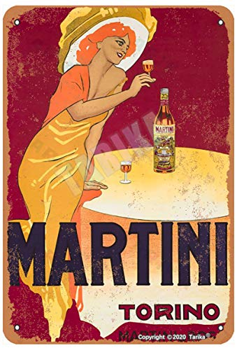 Martini Torino Vintage Look Metal 20x30 CM Decoración Arte Cartel para el Hogar Cocina Baño Jardín Garaje Cafetería Divertida Decoración de Pared