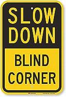 スローダウン、ブラインドコーナーサインセーフティサインティンメタルサインロードストリート通知サイン屋外装飾注意サイン
