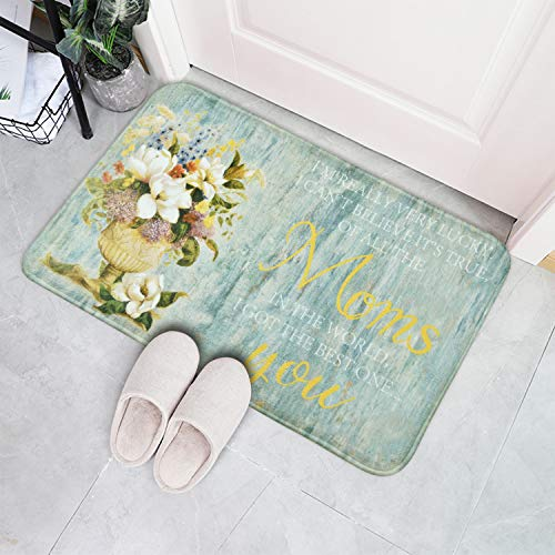 Happy Mother's Day Mats Bouquet Flowers Area Rugs 18 x 30 Inches Mat Gift for Best Mom Spring Summer Season Indoor Mats for Living Room, Bedroom, Kitchen, Laundry Room