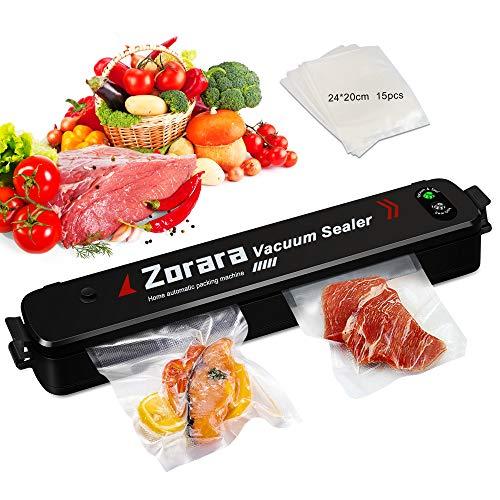 Zorara Vakuumiergerät, Folienschweißgerät Vakuumierer für die Lebensmittelkonservierung Trockene und feuchte Lebensmittelmodi, mit 15 Vakuumierbeutel