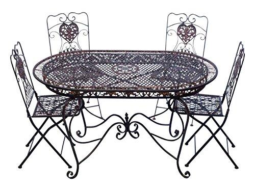 aubaho Set Tavolo da Giardino 4 sedie da Giardino in Ferro Marrone Sedia mobili in