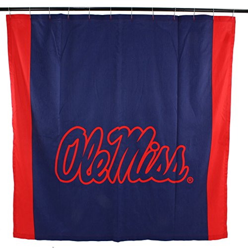 College Covers NCAA Mississippi Ole Miss Rebels Big Logo Shower Curtain, Blue, 72
