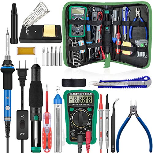 Soldering Iron, Soldering Kit, 19-in-1 60w Soldering Iron Kit Electronics Adjustable Temperature Welding Iron with ON/OFF Switch, Digital Multimeter, 5 Tips, Desoldering Pump, Screwdriver, Tweezers
