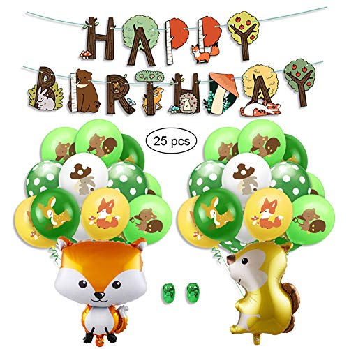 SUNSK Geburtstagsballons Waldtier Luftballons Happy Birthday Girlande Runde Latexballon Tier Folienballon Geburtstag Deko für Mädchen Kinder 25 Stück