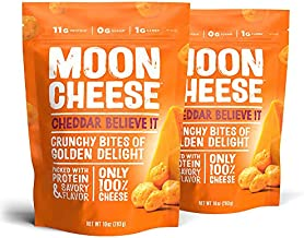 Moon Cheese, Cheddar believe it, 100% Cheddar cheese, Low-carb 10 oz, Keto-Friendly, high protein snack alternative to protein bars, cookies, and shakes (Pack of 2)