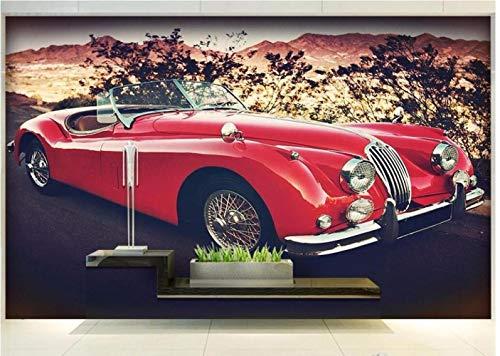FCFLXJ Wandbild (selbstklebend) Klassiker Sportwagen Rot Kinderzimmer Wohnzimmer Restaurant Bar Cafe Halle Tv Hintergrundbild (B) 300X (H) 210 Cm   6 Streifen