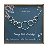 EFYTAL 80th Birthday Gifts for Women, Sterling Silver Eight Circle Necklace for Her, 8 Decade Jewelry 80 Years Old