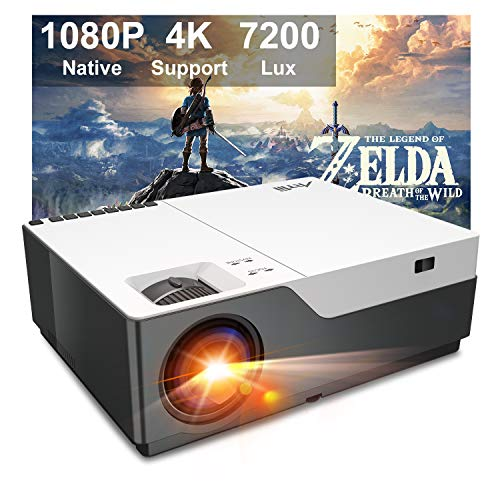 Projector, Artlii Stone Full HD 1080P Projector Support 4K, 7200L 300' Home Theater Projector, 8000:1 Contrast Ratio Compatible w/HDMI, Laptop, PPT Presentation
