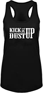 Womens Kick Dust Up Country Song Fitness Workout Racerback Tank Tops