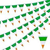 Whaline Irland-Flaggen Irische Schnur Flagge Banner Irische Wimpel Banner Nationalland Irische Dreieck Flagge Banner mit 38 Flaggen für St. Patrick's Day Schule Bar Restaurant Sport Event Party Decor