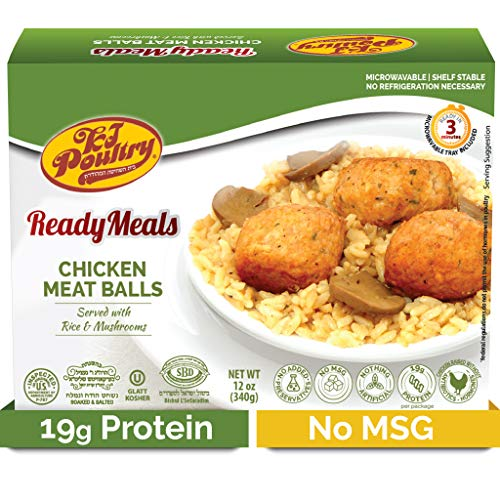 Kosher MRE Meat Meals Ready to Eat, Chicken Meat Balls & Mushrooms (1 Pack) - Prepared Entree Fully Cooked, Shelf Stable Microwave Dinner – Travel, Military, Camping, Emergency Survival Protein Food
