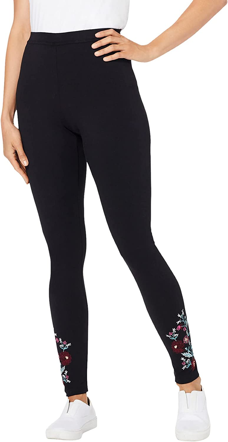 Woman Within Women's Plus Size Stretch Cotton Embroidered Legging - 42/44, Black Floral Embroidery