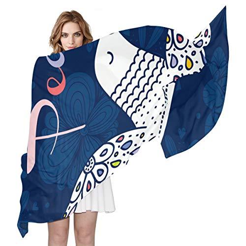 FANTAZIO Schal für Damen, süßes Peace-Taubenmotiv, leicht, weich, für den Winter, Wickelschal