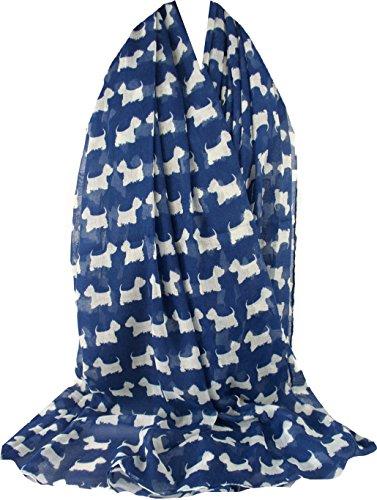 GFM Schal mit Tiermuster – Scottie – große Größe – für alle Jahreszeiten Gr. 42, Sc-ghnl-86 - Blau