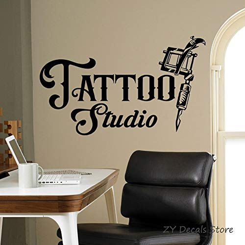 Tattoo studio logo muur sticker commerciële logo poster vinyl kunst sticker tattoo machine raam sticker waterdicht behang 139x84cm
