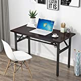 Computer Desk Office Desk 47 inches Folding Table丨Computer Table Workstation No Install Needed, Black Brown