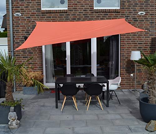Floracord 06-77-07-39 Vierecksonnensegel mit Regenschutz 2,5 x 3 m inklusive Zubehör mit dauerelastischen Spanngurten, terracotta, orange