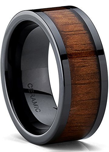Men's Black Ceramic Flat Top Wedding Band Ring with Real Koa Wood Inlay, 9MM Comfort Fit, SZ 10.5