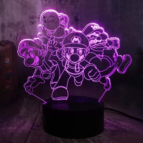 3D Nachtlichter LED Tischlampe Spiel Actionfigur Super Mario Brothers Multicolor 7 Farbdekoration Partydekoration Kindergeschenke Kinderspielzeug