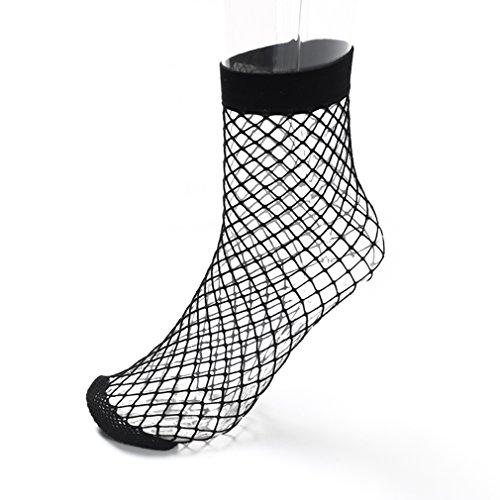 Yinew Frauen Lady Black Lace Rüsche Netzstrümpfe Netz Socken Strümpfe