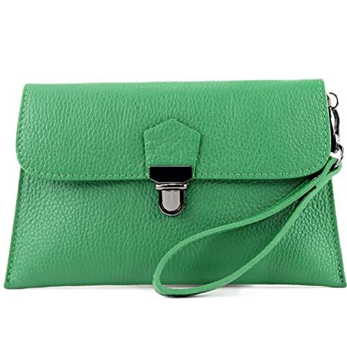 modamoda de - T190 - Pochette in pelle con tracolla in pelle italiana, Colore:foglia verde