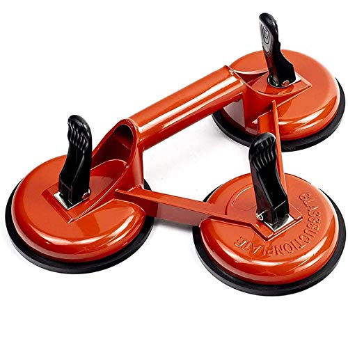 YXMxxm Suction Cups with Handle,Aluminum Suction Cup Glass Lifter for Lifting And Moving Glass,Floor,Window,Tile,Granite,Doors (3 Claw Orange)